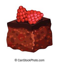 délicieux, dessert, couper, illustration, doux, frais, gâteau chocolat, vecteur, framboise