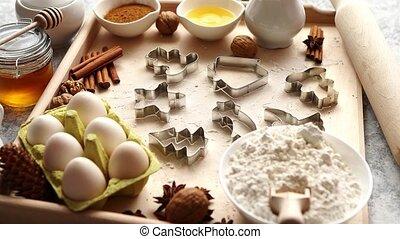 délicieux, frais, noël, sain, ingrédients, pain épice