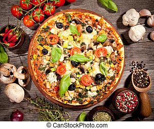 délicieux, frais, pizza, servi, sur, table bois