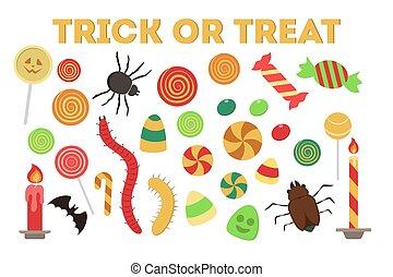 délicieux, halloween, set., bonbon, doux, collection