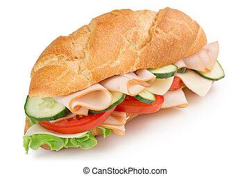 délicieux, jambon, sandwich