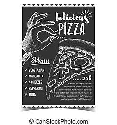 délicieux, menu, pizza, affiche, vecteur, ok, geste