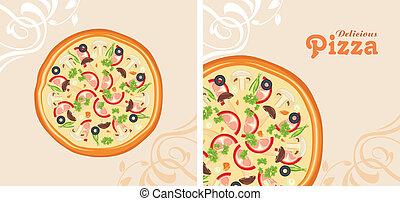 délicieux, pizza., fond