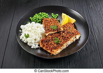 délicieux, poisson blanc, gros plan, filets