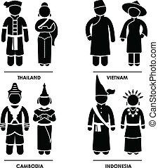 délkeleti, öltözet, jelmez, ázsia