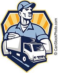 déménagement, camion livraison, retro, crête, homme