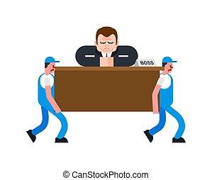 déménageurs, et, patron, sur, table., concierges, porter, homme affaires, à, desk., livraison, service., chargeur, déménageur, homme, holding., en mouvement, vecteur, illustration