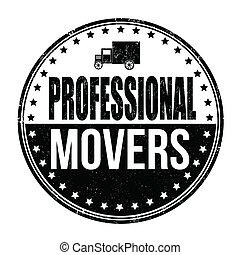 déménageurs, professionnel, timbre