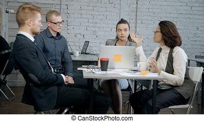 démarrage, analyse, projet, directeur, nouveau, révélateur, discuter, ingénieur