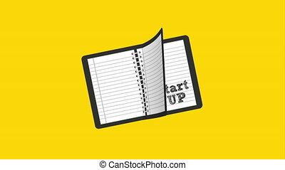 démarrage, cahier, conception