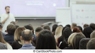 démarrage, compagnie, audience., formation, entrepreneur, business, vue