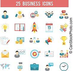 démarrage, ensemble, icones affaires, plat