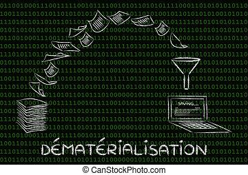 dématérialisation, (paperless, office):, balayage, documents, et, tourner, papier, dans, données