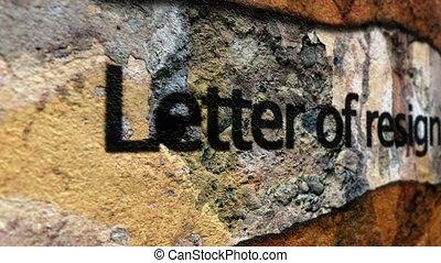 démission, concept, grunge, lettre