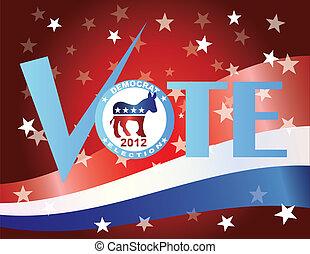 démocrate, nous, marque, drapeau, vote, chèque