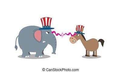 démocrate, vs, républicain, âne, politique, fâché, éléphant