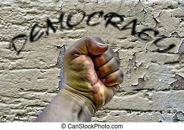 démocratie, baston