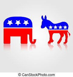 démocratique, et, républicain, politique, symboles