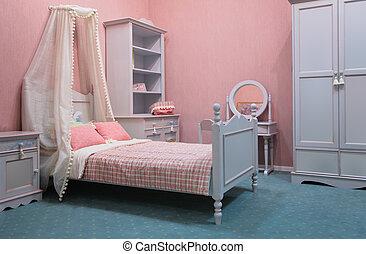 démodé, chambre à coucher