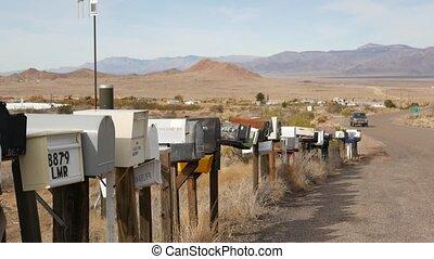 démodé, goutte, nostalgique, pilier, touriste, bord route, boîtes lettres, vendange, aride, postbox, grunge, désert, 66., rang, adresse, métal, boîtes, postal, retro, intersection, parcours, route, usa., arisona