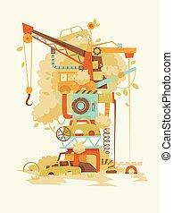démolir, illustration, arbre, yard