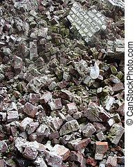 démolition, pierre, décombres, pile