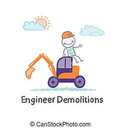 démolitions, assied, excavateur, ingénieur