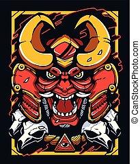 démon, guerrier, samouraï, mascotte