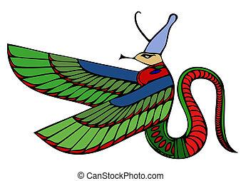 démon, vecteur, -, égyptien