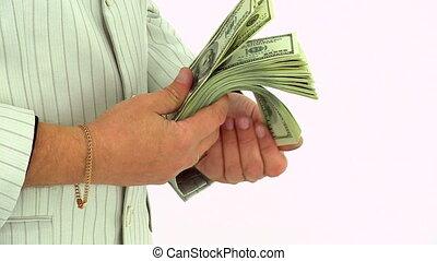 dénombrement, argent, billets dollar, hommes affaires, cent