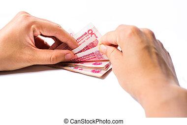 dénombrement, chinois, argent, femelle transmet, yuan