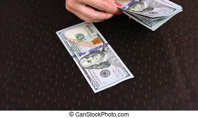 dénombrement, dollar, mains