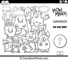 dénombrement, pédagogique, coloration, animaux, tâche, page, livre