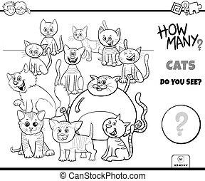 dénombrement, pédagogique, jeu, couleur, chats, livre