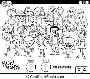 dénombrement, pédagogique, jeu, couleur, filles, garçons, page, livre