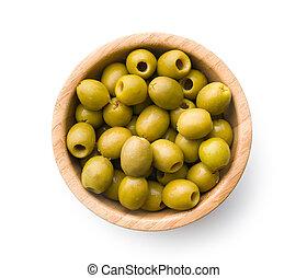 dénoyauté, olives vertes, bol
