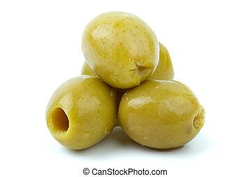 dénoyauté, quelques-uns, gros plan, coup, olives