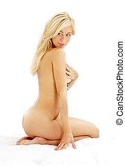dénudée, cheveux, blonds, long