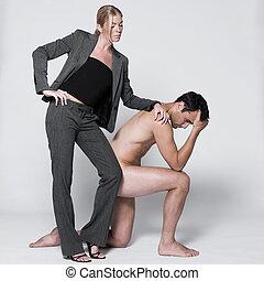 dénudée, couple, jeune homme