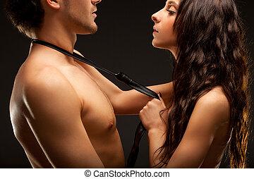 dénudée, couple, mode