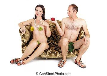dénudée, couple, tentation