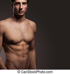 dénudée, homme, torse, jeune, beau