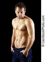 dénudée, modèle, mâle, jean, musculaire