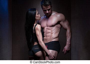 dénudée, musculation, couple, silhouette, romantique