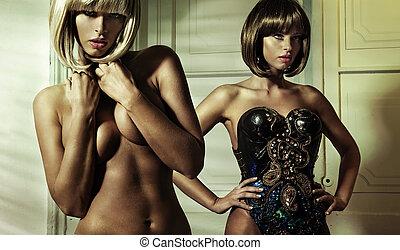 dénudée, photo, conceptuel, dame