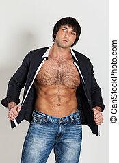 dénudée, torse, jeune, musculaire, homme