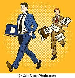 dépêcher, voler, papiers, partout, courant, seconde, une, hommes affaires, organisé, serviette, fond, intelligent, long, porter, deux, jaune, derrière, sur, dessin animé