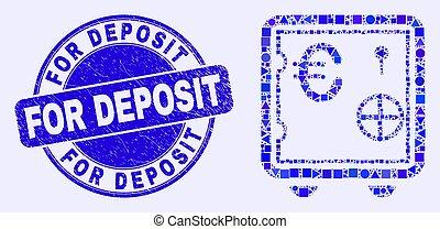 dépôt sûr, mosaïque, euro, banque, bleu, cachet, gratté