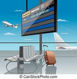 départ, aéroport