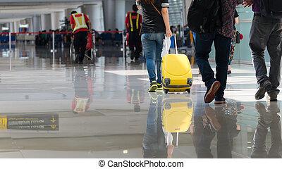départ, bagage, salon aéroportuaire, voyageur
